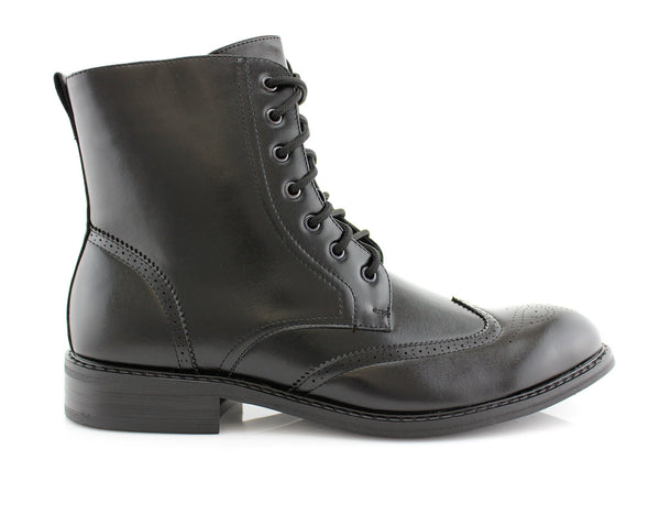 Gloss Black Fashion Boots For Men Zipper & Lace Up High Top Ken Side View