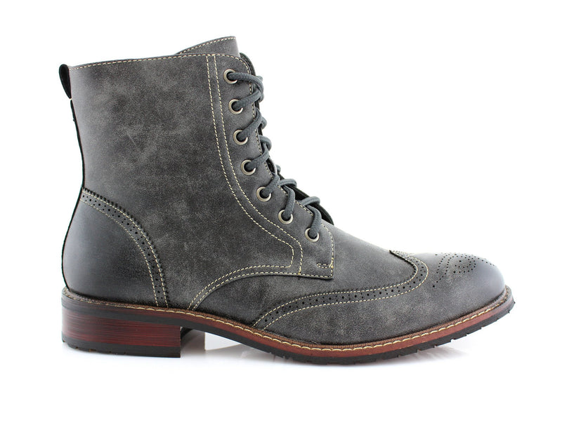 Vintage Grunge Leather Texture Gray Boots Kaiser Men Side View