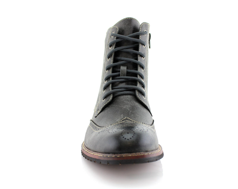 Vintage Grunge Leather Texture Gray Boots Kaiser Men Front View
