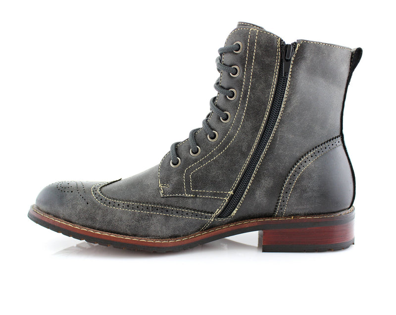 Vintage Grunge Leather Texture Gray Boots Kaiser Men Side Zipper