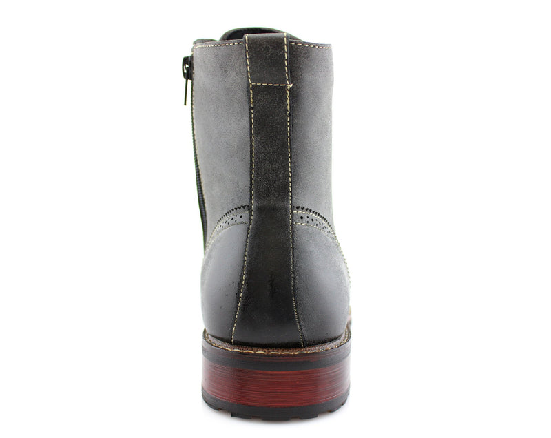 Vintage Grunge Leather Texture Gray Boots Kaiser Men Back View