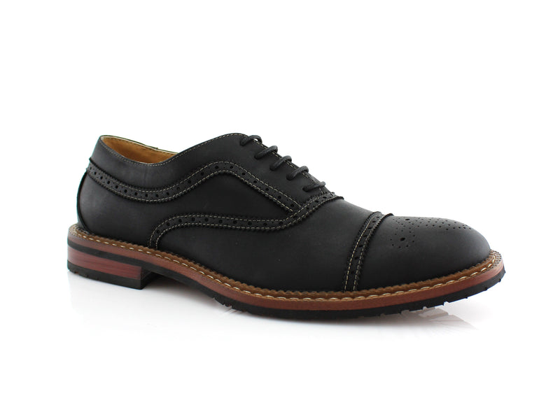 Matt Textured Casual Brogues Wingtip Dress Shoes Side View