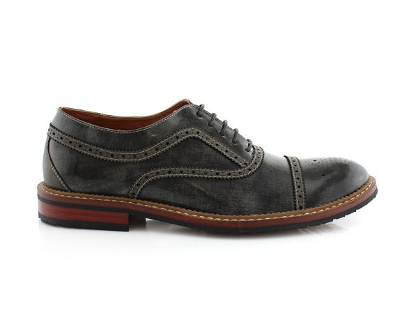 Burnished Casual Brogues Wingtip Dress Shoes Side View