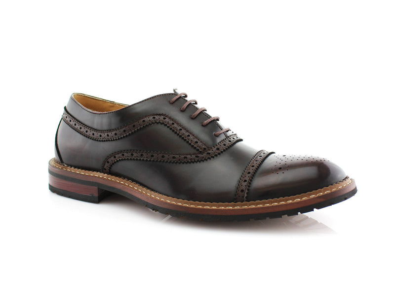 Dark Brown  Casual Brogues Wingtip Dress Shoes Side View