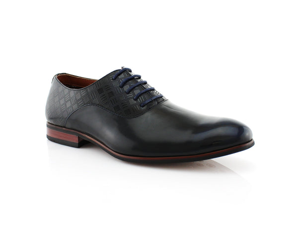 Men's PU Navy Blue Business Shoes Jory Side View