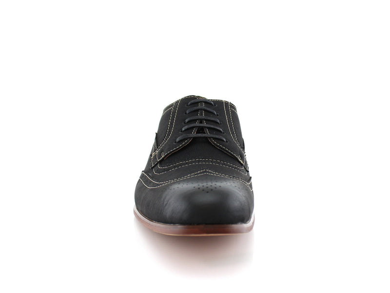 Comfortable black vegan leather shoes for formal, office or casual wear Vincent Front view
