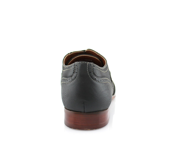 Comfortable black vegan leather shoes for formal, office or casual wear Vincent back view