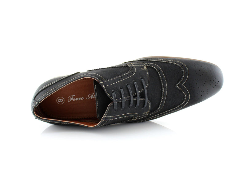 Comfortable black vegan leather shoes for formal, office or casual wear Vincent top view