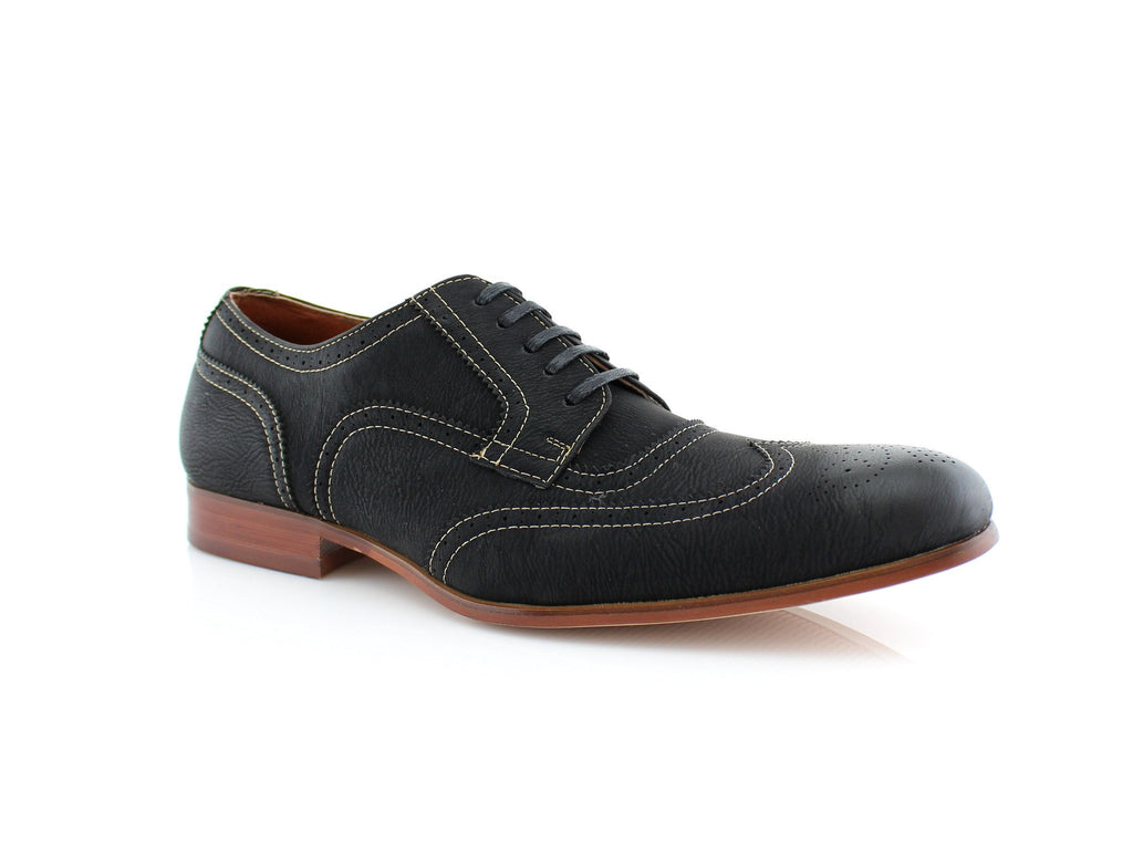 Comfortable black vegan leather shoes for formal, office or casual wear Vincent side view