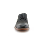 Black Burnished Nubuck Faux Leather Brogue Wingtip Oxford Front View