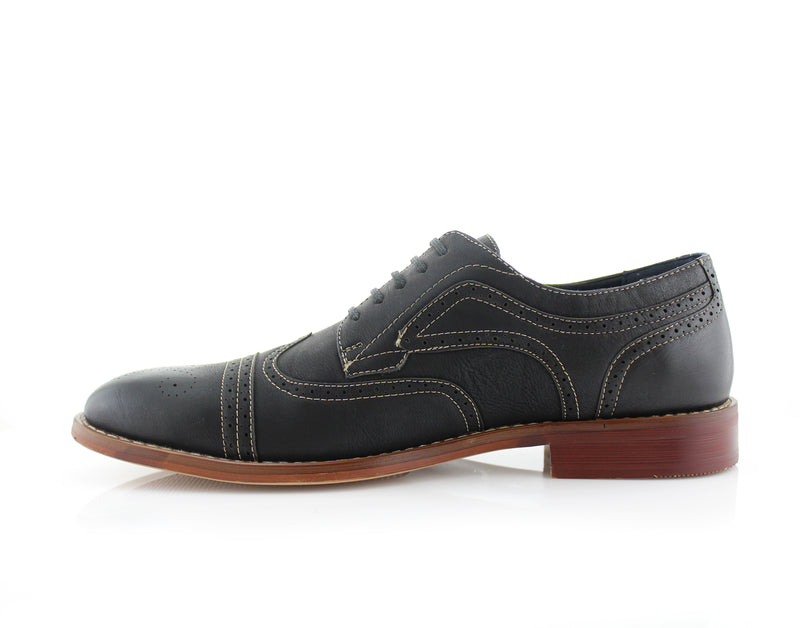 Black Burnished Nubuck Faux Leather Brogue Wingtip Oxford Side View