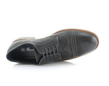 Black Burnished Nubuck Faux Leather Brogue Wingtip Oxford Top View