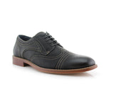 Black  Nubuck Faux Leather Brogue Wingtip Oxford Side View