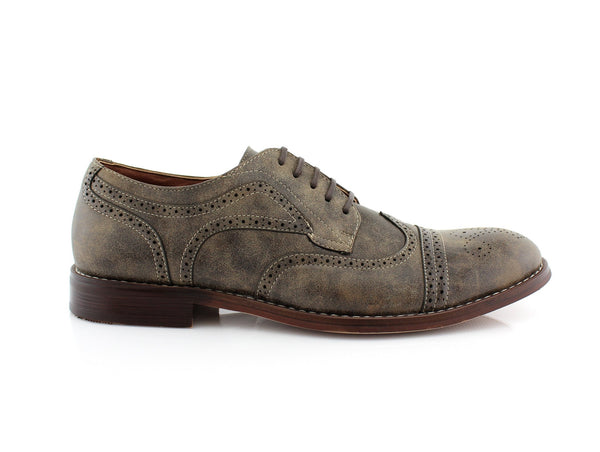 Brown Burnished  Nubuck Faux Leather Brogue Wingtip Oxford Side View