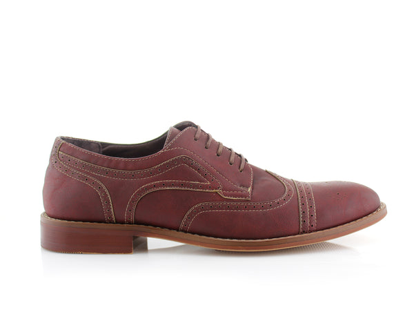 Red Burnished Nubuck Faux Leather Brogue Wingtip Oxford Side View