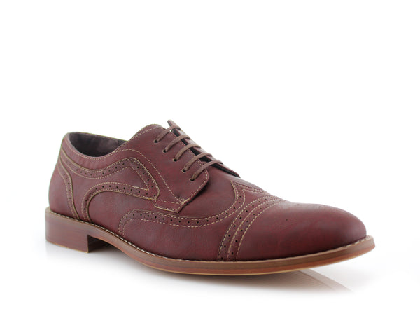 Burnished Nubuck Faux Leather Brogue Wingtip Oxford