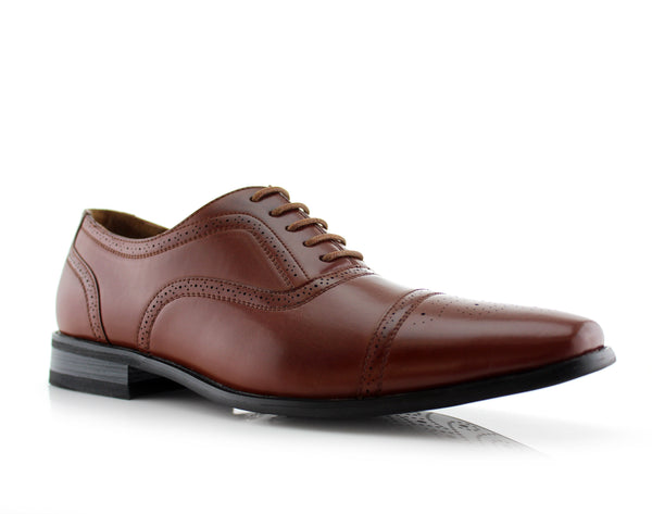 Brown Classic Brogue Men's Oxford Dress Shoes Todd Side View