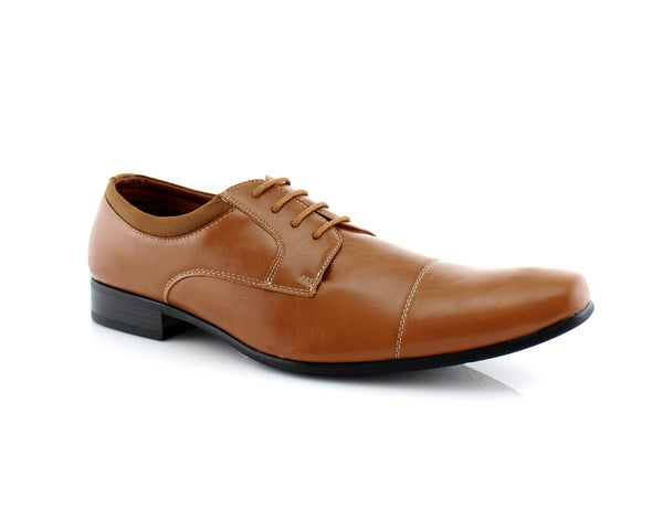 Brown Small Square Toe Men's Dress Shoes Side View
