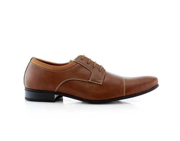 Dark Brown Small Square Toe Men's Dress Shoes Side View
