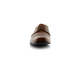 Dark Brown Small Square Toe Men's Dress Shoes Front View