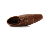 Dark Brown Small Square Toe Men's Dress Shoes Top View