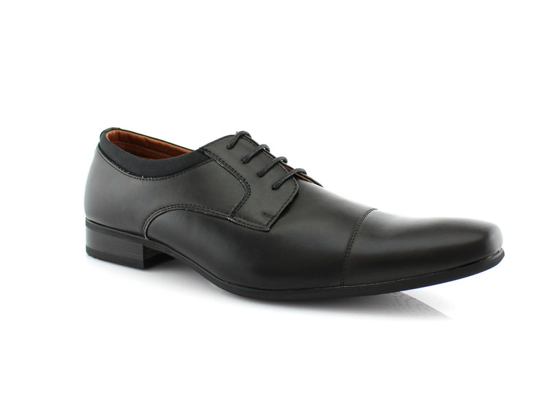 Black Small Square Toe Men's Dress Shoes Side View
