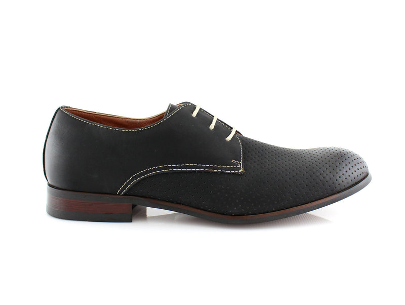 Men's Perforated Black Oxford Dress Shoes Isaiah Side View