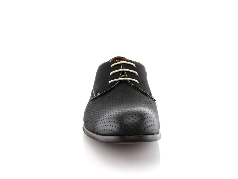 Men's Perforated Black Oxford Dress Shoes Isaiah Front View
