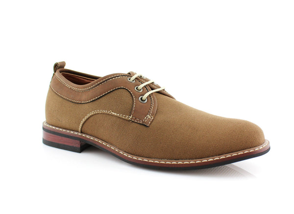 Khaki Plain Toe Lace Up Suede Shoes Issac Side