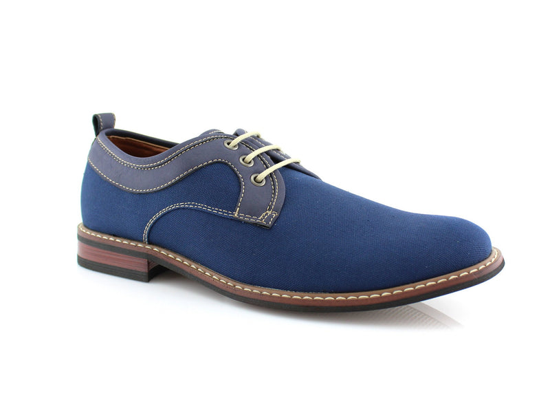 Blue Plain Toe Lace Up Suede Shoes Issac Side