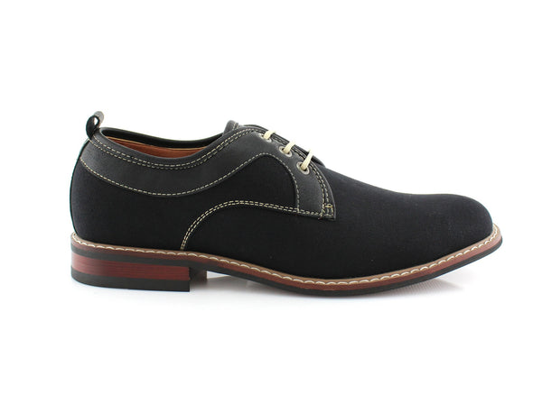 Black Plain Toe Lace Up Suede Shoes Issac Side