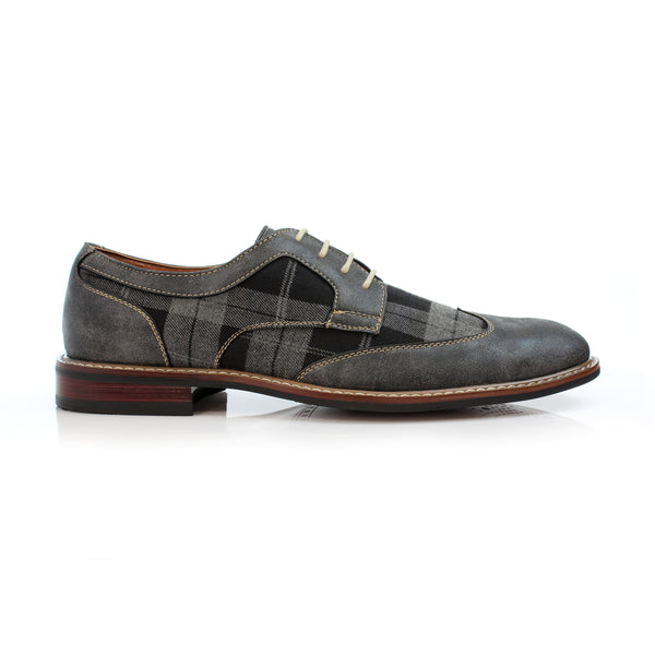 Men's classic plaid wingtip brogue gray comfortable vegan leather Julian side view