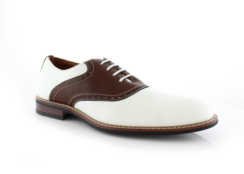 Color Bump Dress Shoes For Men Jordan Brown/White Side