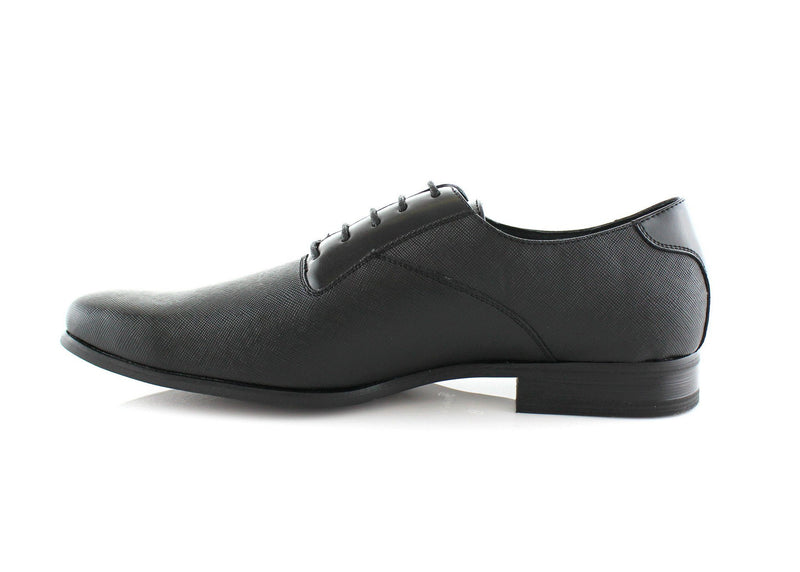 70's Men's Shoes Javier Classic Black Almond Toe Oxford Side View