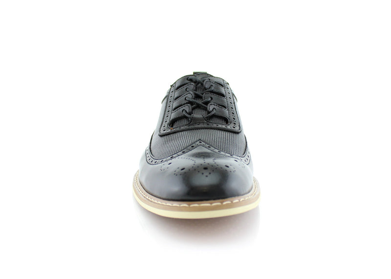 Men's Fashion Outfit Vintage Black Shoes Front View