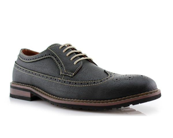 Men's classic longwing brogue black shoes Phillip side view