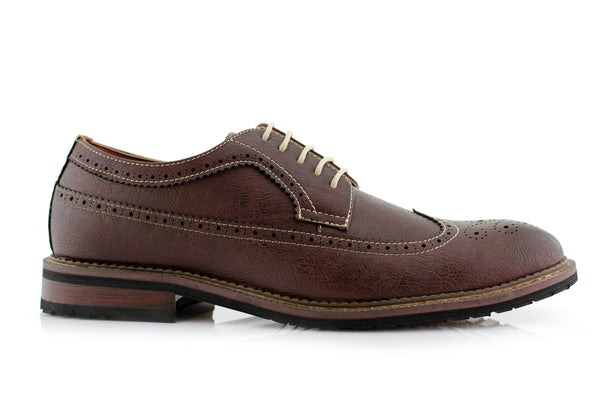 Men's classic longwing brogue brown shoes Phillip side view