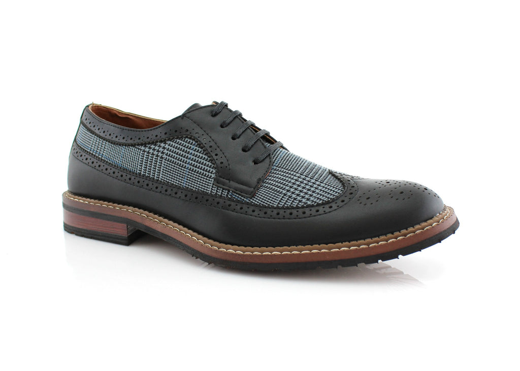 Black Houndstooth Men's Oxford Derby Dress Shoes Peter Side