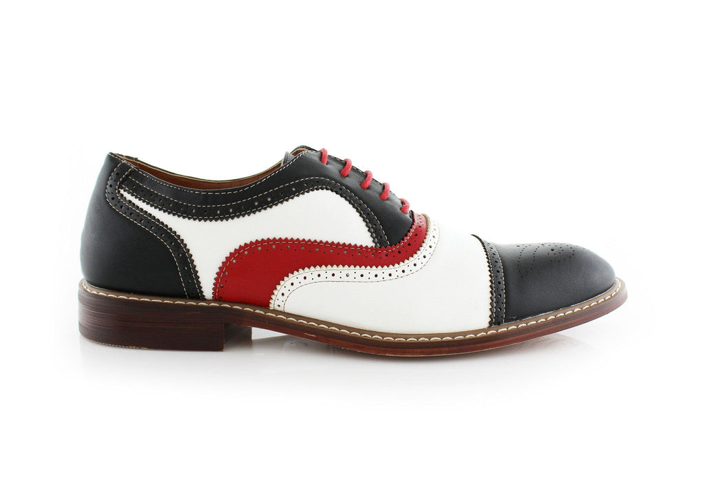 Red Black White Event Wing-Tip Oxford Shoes Seth Side View