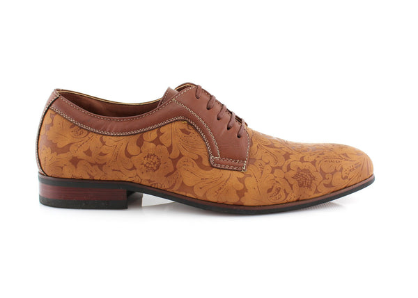 Brown Floral Printed Ballroom Latin Salsa and Tango Shoes Side View