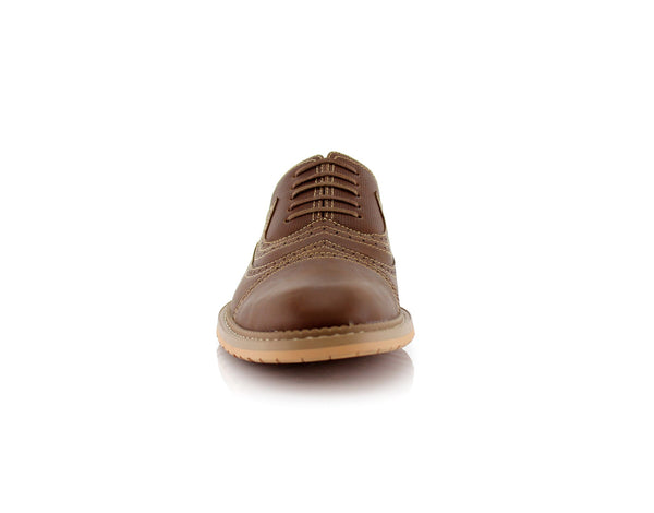Casual Brogue Wingtip Cap Toe Perforated Dark Brown Oxford Xavier Front View