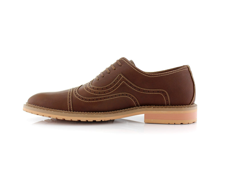Casual Brogue Wingtip Cap Toe Perforated Dark Brown Oxford Xavier Side View