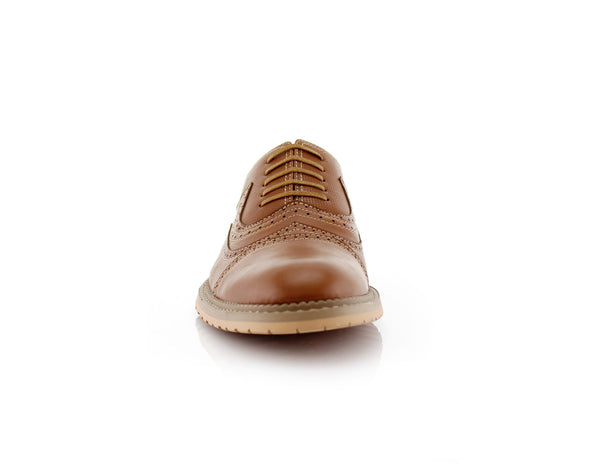 Casual Brogue Wingtip Cap Toe Perforated Brown Oxford Xavier Front View