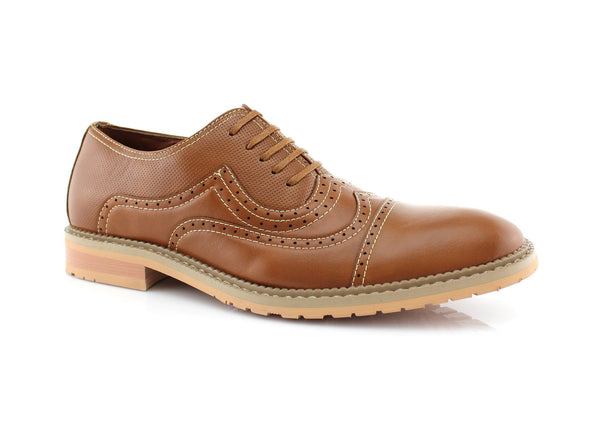 Casual Brogue Wingtip Cap Toe Perforated Brown Oxford Xavier Side View