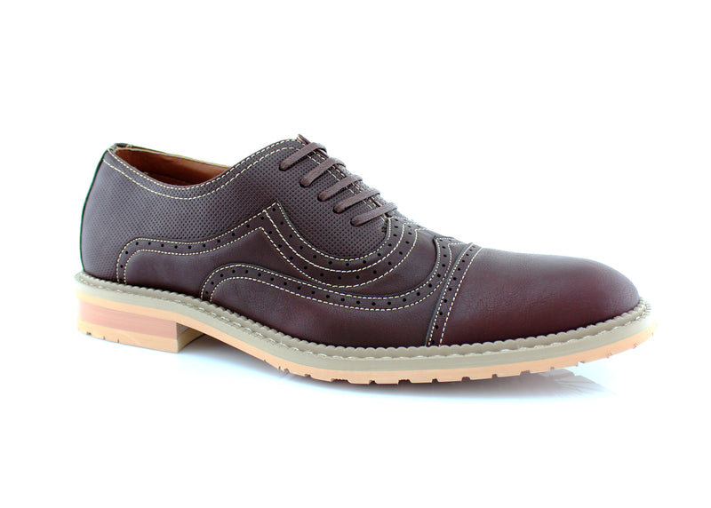 Casual Brogue Wingtip Cap Toe Perforated Burgundy Oxford Xavier Side View