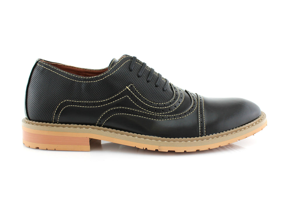 Casual Brogue Wingtip Cap Toe Perforated Black Oxford Xavier Side View