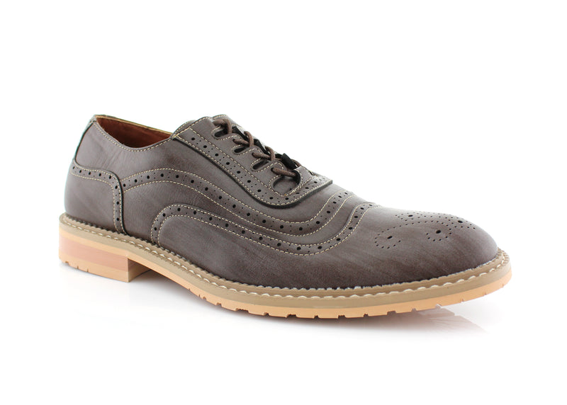 Wooden  Wingtip Brogue Design Men's Lace Up Daylife Shoes To Buy  Side View