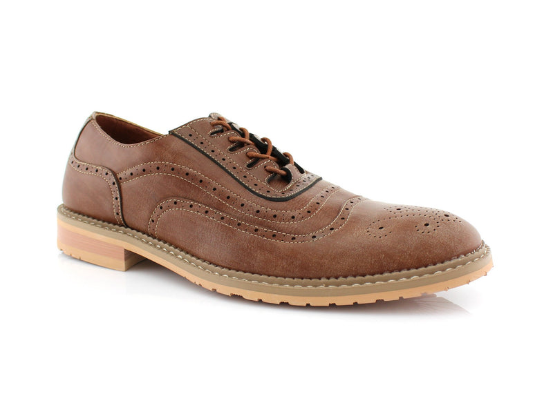 Browm Wingtip Brogue Design Men's Lace Up Daylife Shoes To Buy  Side View