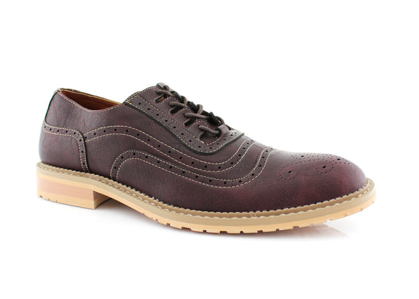 Red Wine Wingtip Brogue Design Men's Lace Up Daylife Shoes To Buy  Side View