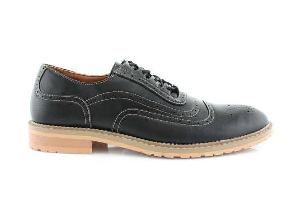 Black Wingtip Brogue Design Men's Lace Up Daylife Shoes To Buy  Side View